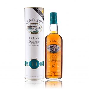 Bowmore 10 Year Old old Bottle with Glass 1980